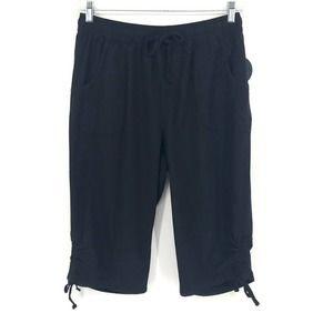 Deep Black Cotton Ruched Skimmer Shorts